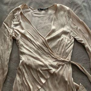 Zara Basic Satin Wrap Blouse